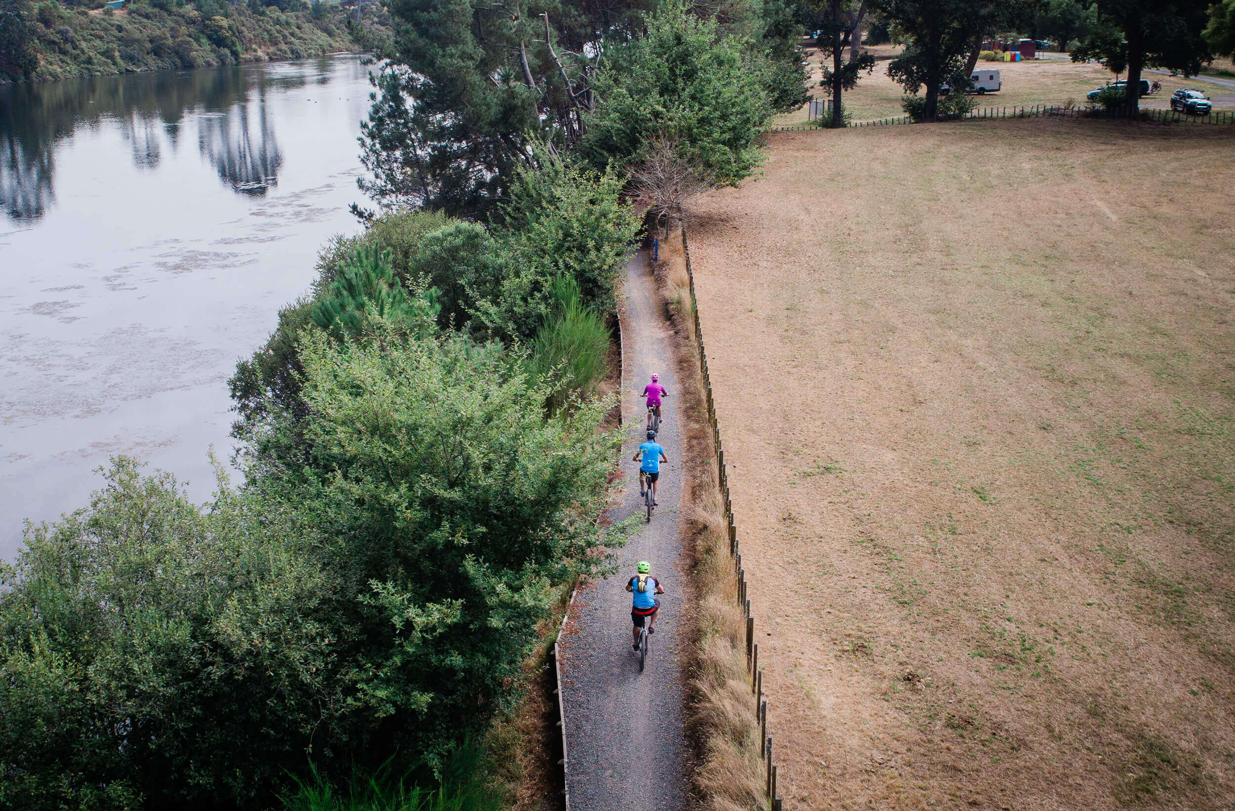 Cyclists enjoying riding the Waikato River Trail in South Waikato