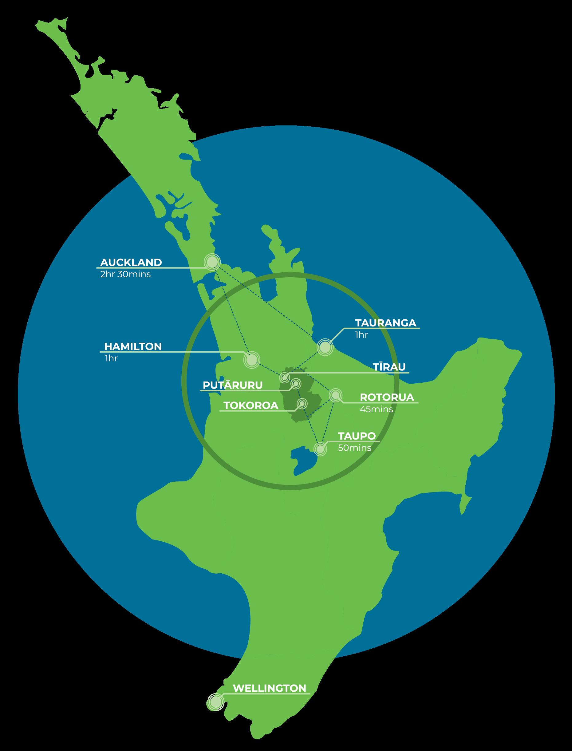 Map of North Island Transport Hub